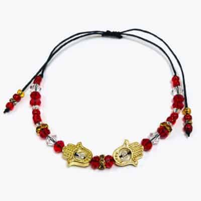Golden Red Namaste Beaded Bracelet