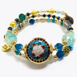 Aquamarine Fusion Beaded Bracelet Wrap by Art Filled Soul