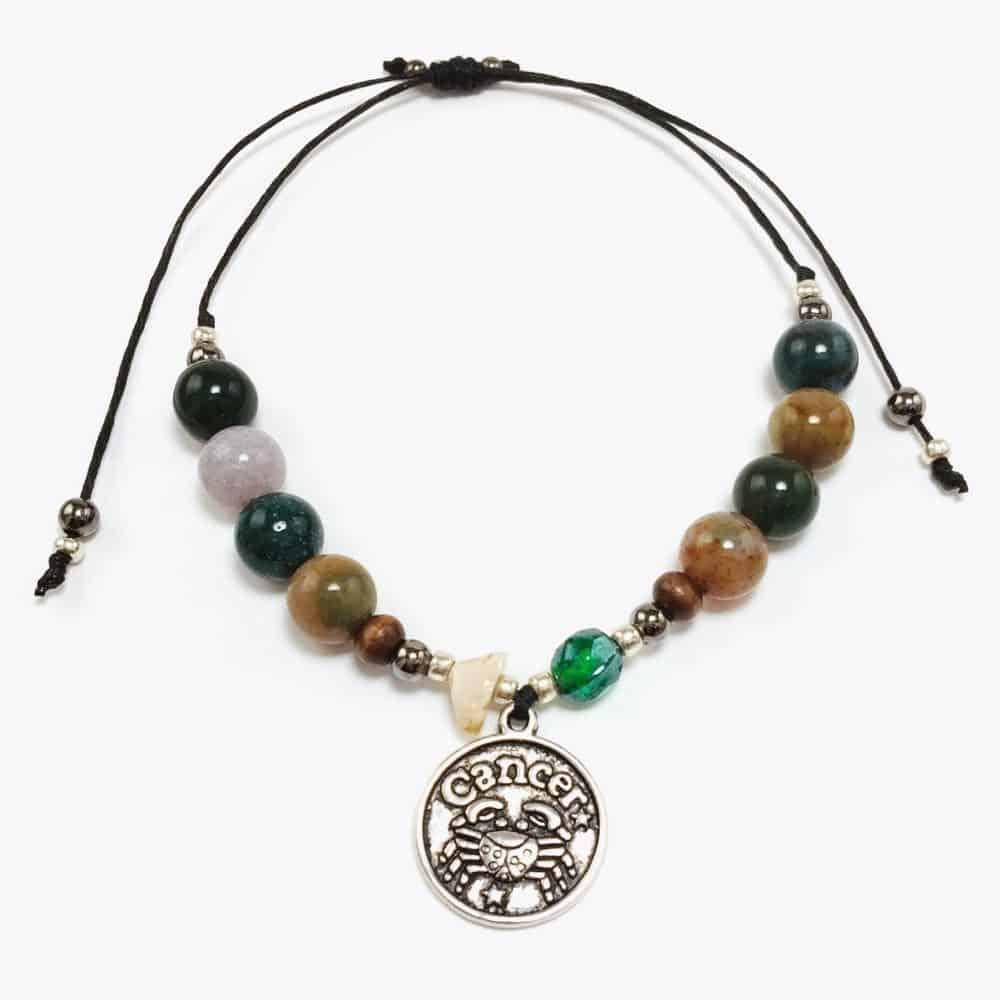 Cancer Astrology Natural Stone Handmade Beaded Bracelet