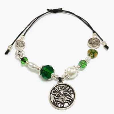 Green Floral Cancer Astrology Handmade Bracelet by Art Filled Soul