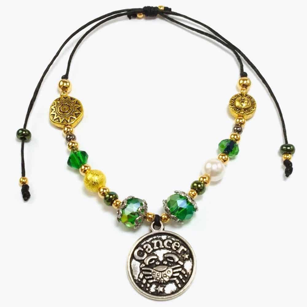 Golden Cancer Astrology Handmade Beaded Bracelet by Art Filled Soul