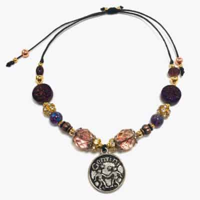Purple Iridescent Gemini Handmade Beaded Bracelet by Art Filled Soul