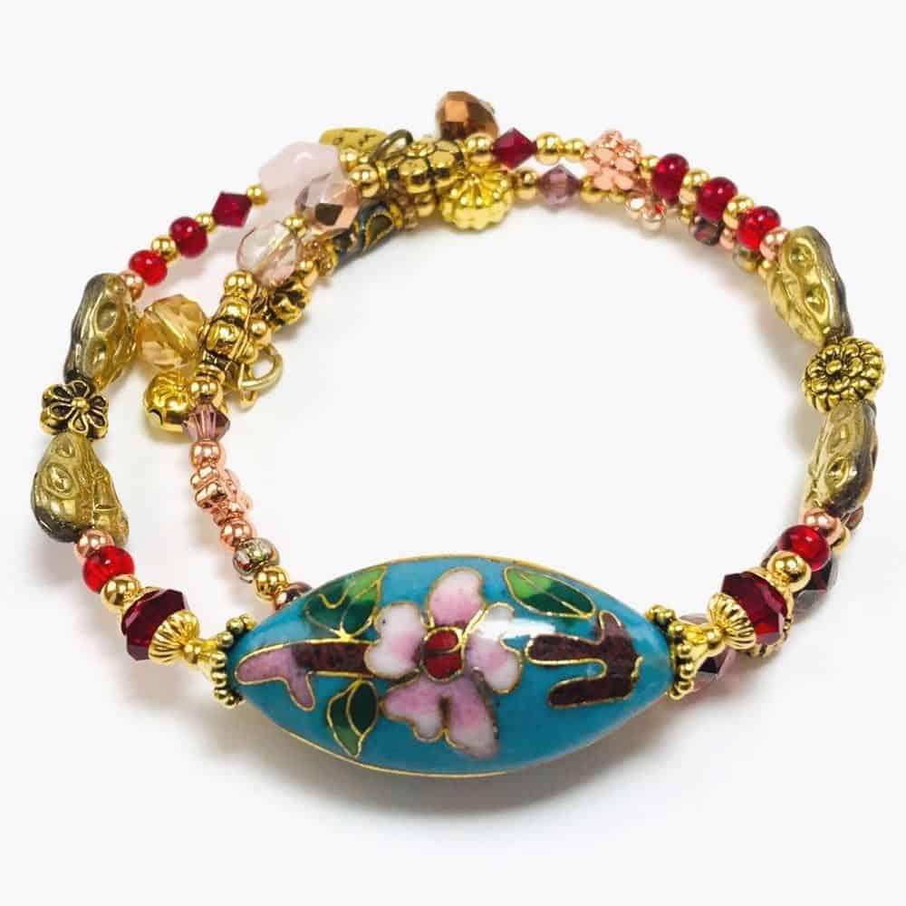 Blue Cherry Blossom beaded bracelet by Art Filled Soul