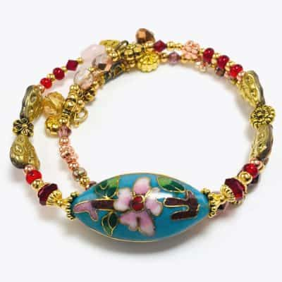Blue Cherry Blossom beaded bracelet by Art Filled Soul