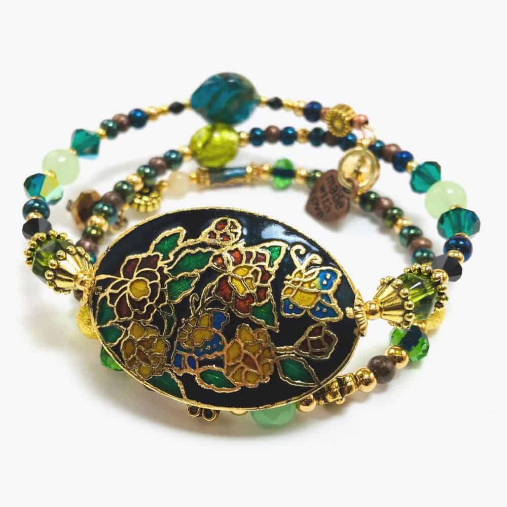 The Rose Garden handmade beaded bracelet wrap by Art Filled Soul