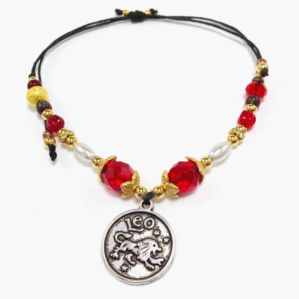 Golden Toned Leo Handmade Beaded Bracelet