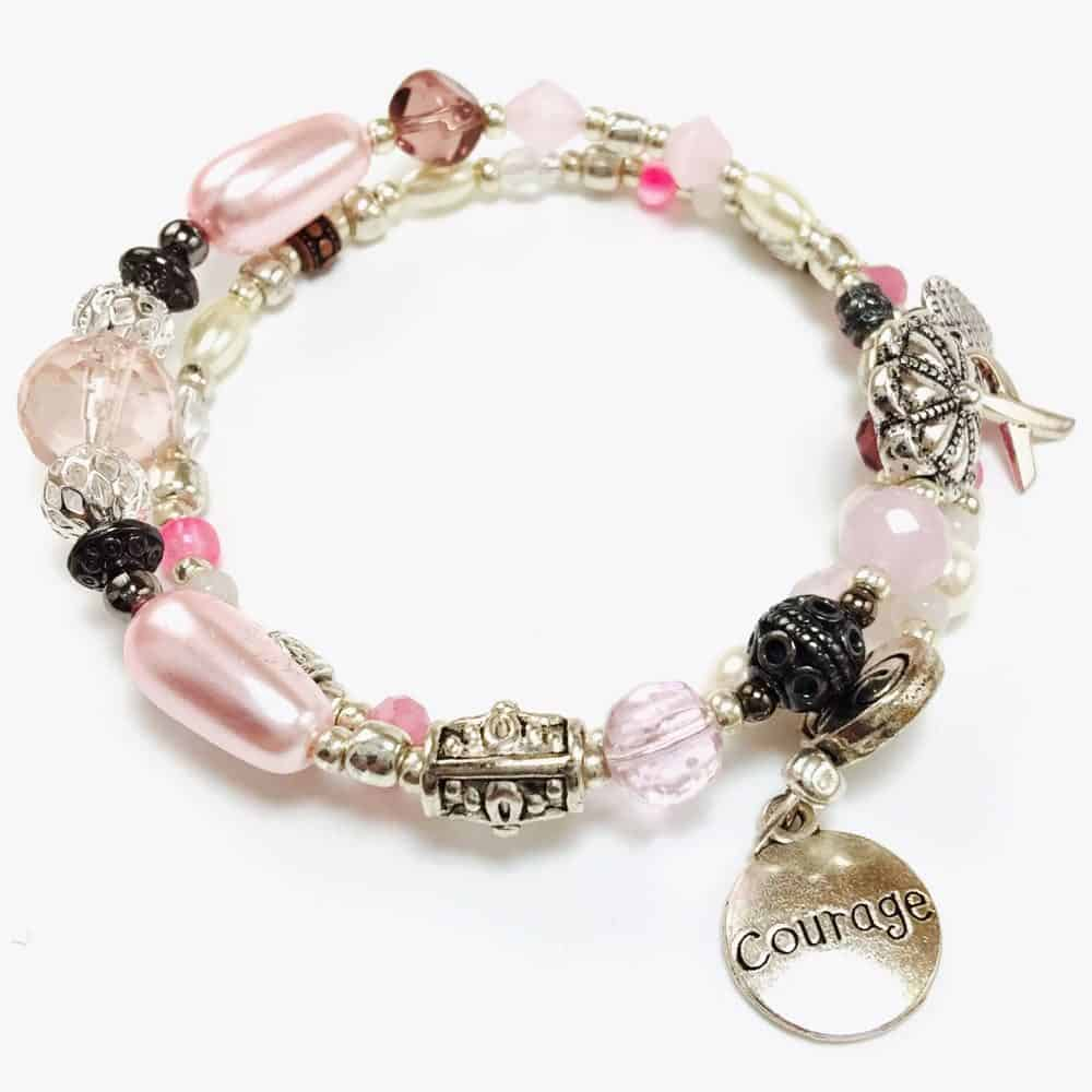 Pink Courage Breast Cancer Awareness Beaded Bracelet