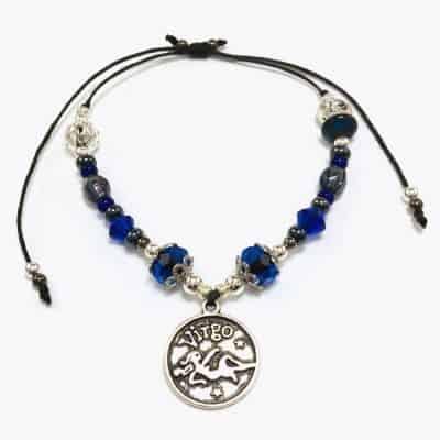Silver Blue Virgo Astrology Beaded Bracelet