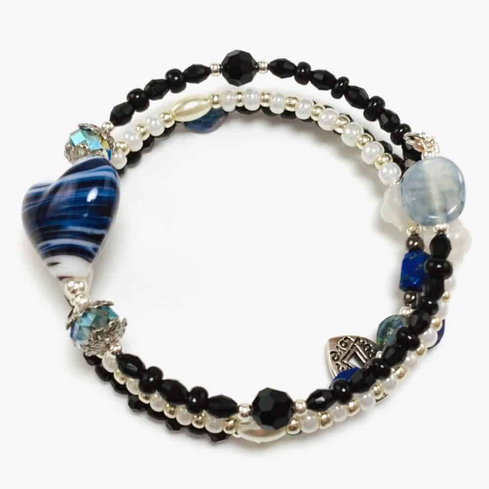 Blue Stripe Heart Beaded Bracelet