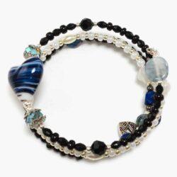 Blue Stripe Heart Beaded Bracelet