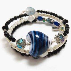 Blue Heart Wrap Bracelet