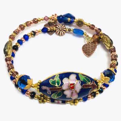 Handmade Blue Floral Wrap Beaded Bracelet by Art Filled Soul