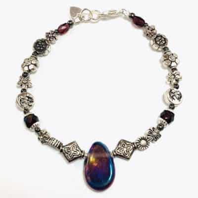 Iridescent Teardrop Glass Bead Bracelet by Art Filled Soul
