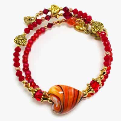 Handmade Hearts of Fire Beaded Bracelet by Art Filled Soul