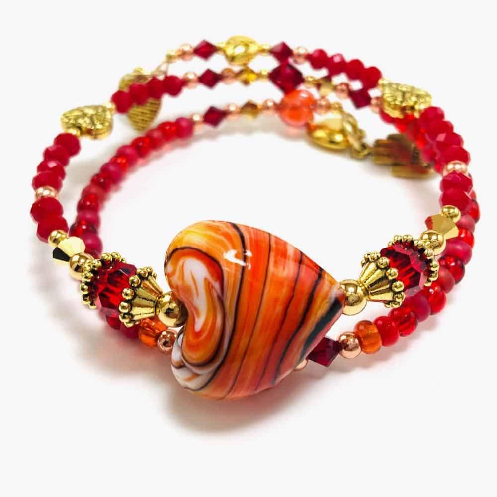 Handmade Hearts of Fire Beaded Bracelet by Art Filled Soul