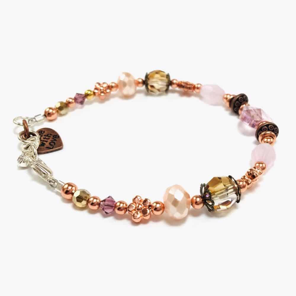 """The """"Pink Rose Heart Beaded Bracelet"""
