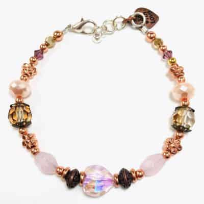 "The ""Pink Rose Heart Beaded Bracelet"