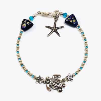 Silver Sea Turtle Micro Beaded Bracelet
