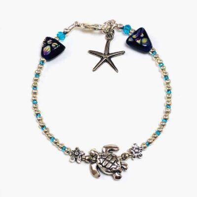 Silver Sea Turtle Micro Beaded Bracelet