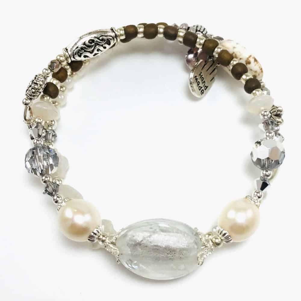 White Pearl Handmade Beaded Bracelet by Art Filled Soul