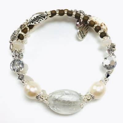 White Pearl Handmade Beaded Bracelet by Art Filled Soul