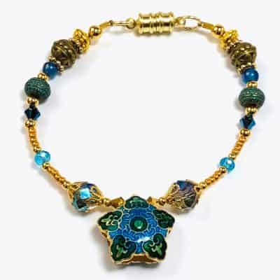 Golden Blue Mosaic Beaded Bracelet