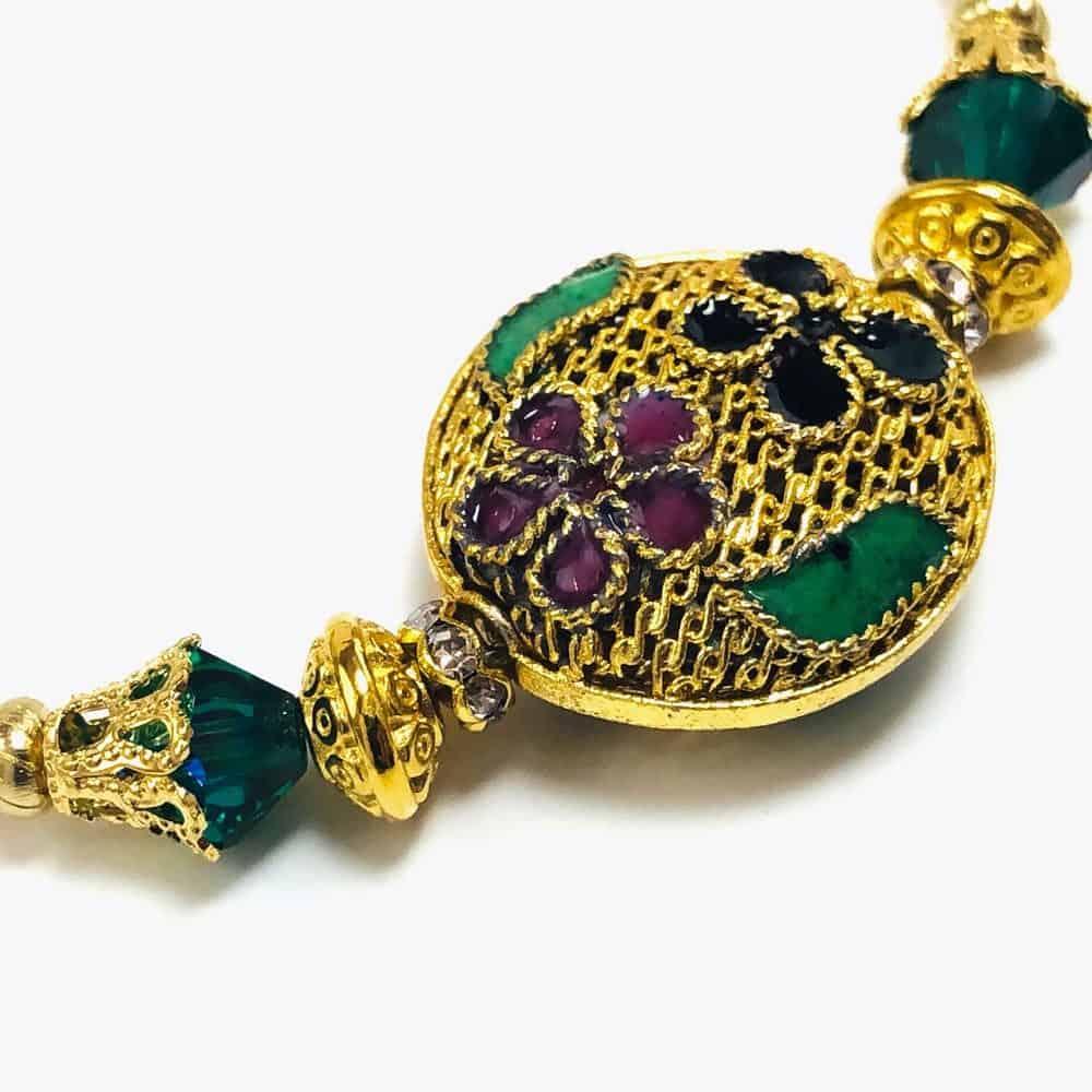 Golden Floral Beaded Bracelet