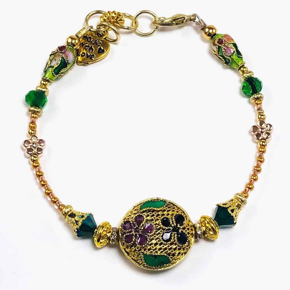Golden Floral Beaded Bracelet - Art Filled Soul