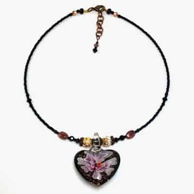Black Floral Heart Choker