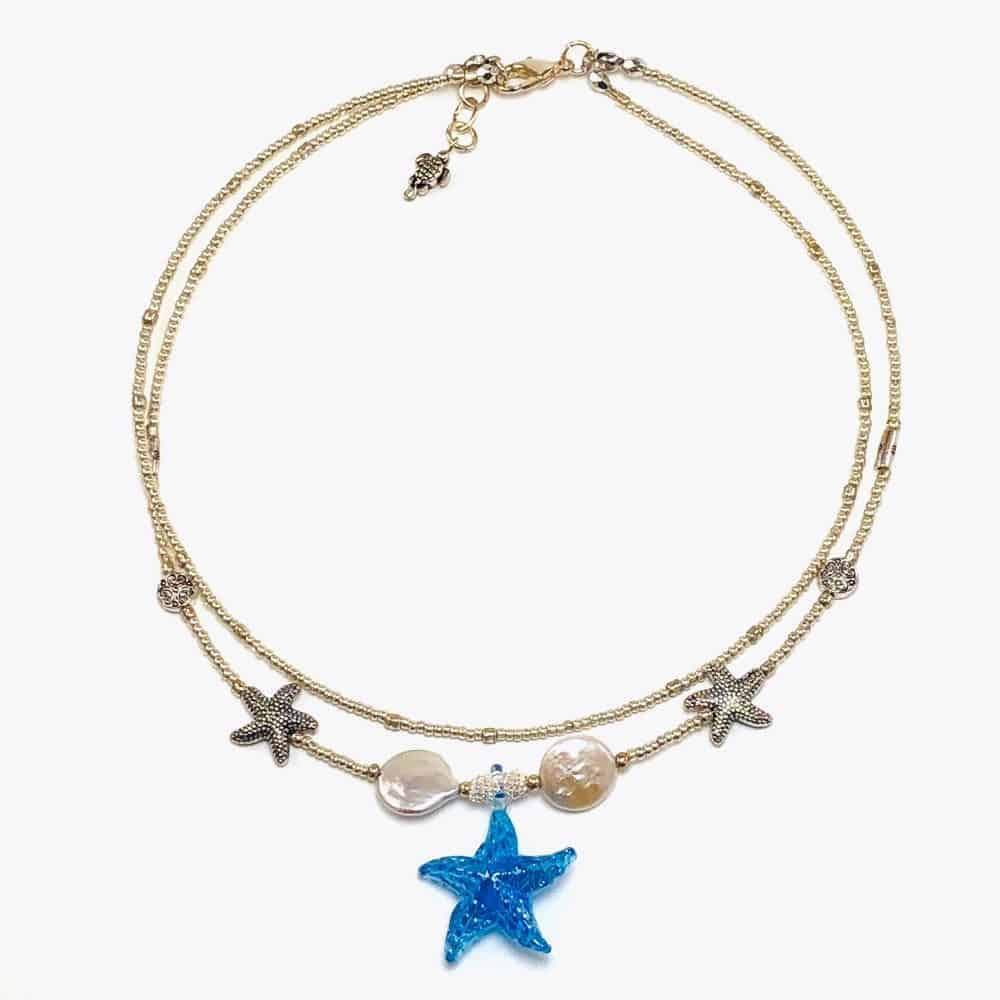 Blue Pieces Ocean Choker