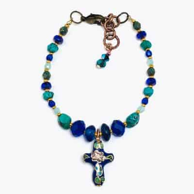 Cherry Blossom Royal Blue Cross Beaded Bracelet by Art Filled Soul