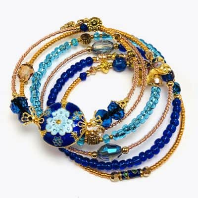 Bohemian Gypsy Blue Floral Beaded Wrap Bracelet by Art Filled Soul