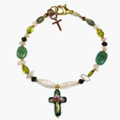 Cherry Blossom Green Cross Beaded Bracelet by Art Filled Soul