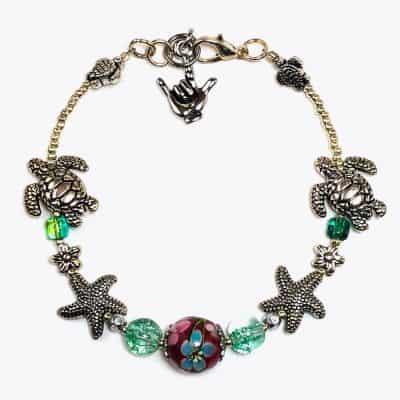 Cherry Blossom Sea Turtle Beaded Bracelet by Art Filled Soul