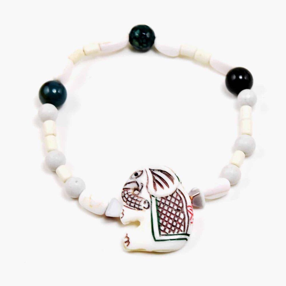 Onyx Painted Elephant Bracelet