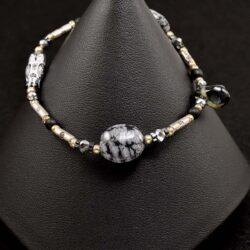 Black Glass Owl Bracelet