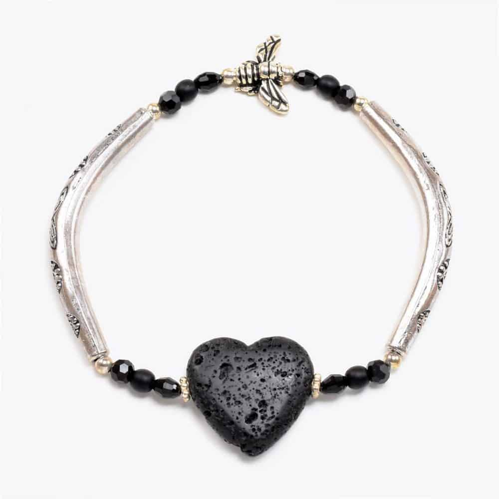 Lavastone Heart Bee Bracelet