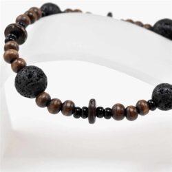 Lava Stone Wood Bracelet