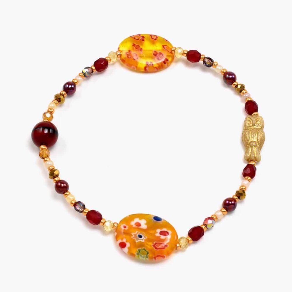 Orange Floral Glass Owl Bracelet