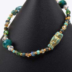 Turquoise Glass Owl Bracelet