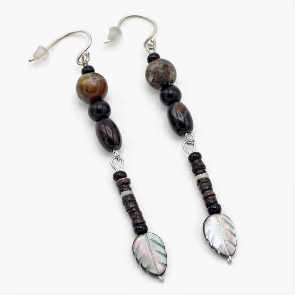 Lip Shell Leaf Agate Drop Earrings
