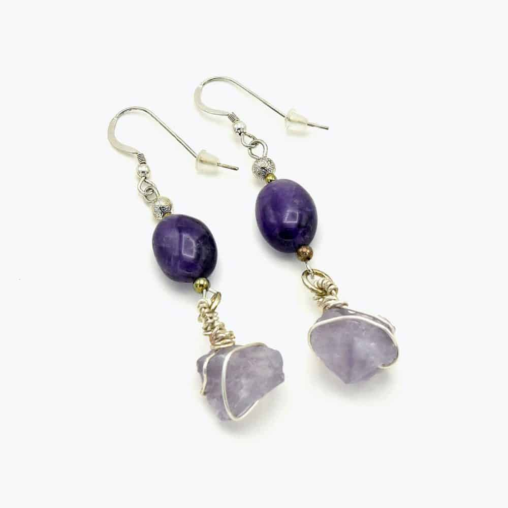 Amethyst Raw Earring